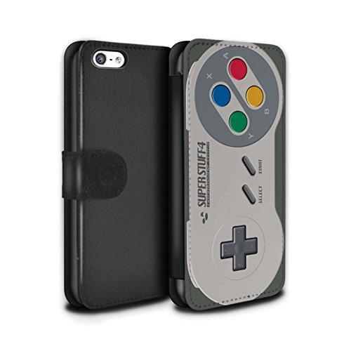 STUFF4 PU-Leder Hülle/Case/Tasche/Cover für Apple iPhone 5/5S / Schwarz Xbox 360 Muster / Spielkonsolen Kollektion Super Nintendo