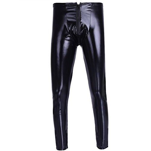YiZYiF Leotardo Pantalón Largo Hombre Charol Pantalones Largos De Cuero Bodysuit para Hombres Negro M