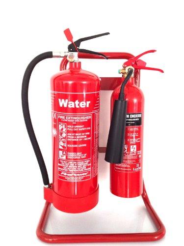 Estintore con doppio supporto tubolare rosso + 6litri d\'acqua + 2kg di CO2