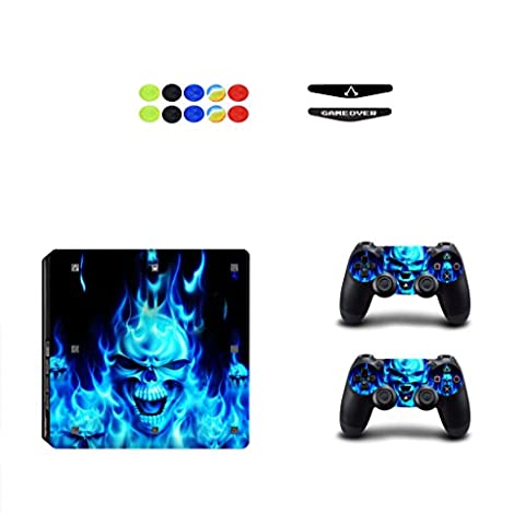 Skin for PS4 Slim, Chickwin Vinyl Skin Full Body Cover Sticker Decal For Sony Playstation 4 Slim Console & 2 Dualshock Controller + 10pc Silicone Thumb Grips + 2pc Random Light Bar (Skull Blue