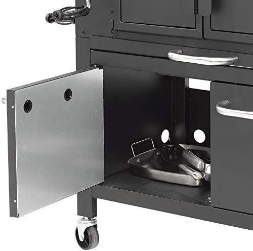 Holzkohlegrill Grand Ontario von EL Fuego® Grill Smoker BBQ Grillwagen Barbecue, mit Thermometer, inkl. Flaschenöffner, mit Warmhalterost und Ascheauffang, AY 572 - 8
