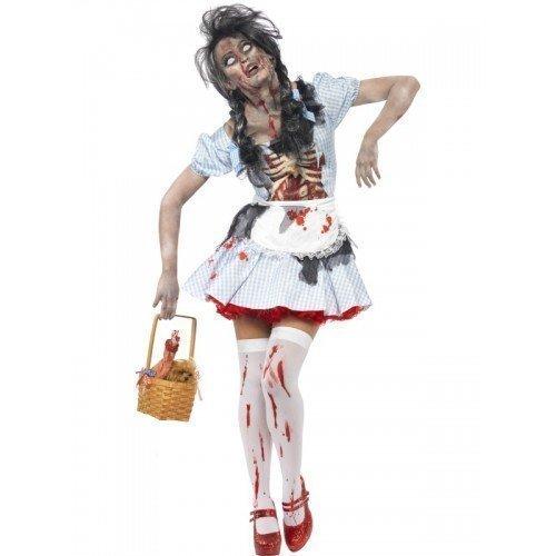 Damen Zombie Dorothy Märchen Latex Dead Corpse Halloween Kostüm (Dorothy Halloween)