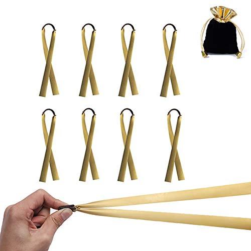 Steinschleuder Gummi Schleuder Zwille Bändern, Slingshot Ersetzt 1mm Flaches Gummiband für Professionelle Spielen im Freien, mit Einer Schönen Geschenktüte Geliefert (8 oder 10 pro Packung) (Gold)