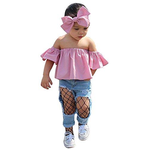 Pwtchenty 2019 Kinderbekleidung Bekleidungssets Mädchen Plaid Tops Ärmellos T-Shirt + Broken Jeans Hosen+ Stirnband Outfits Kleidung Set Sommer Kleidungs Outfits