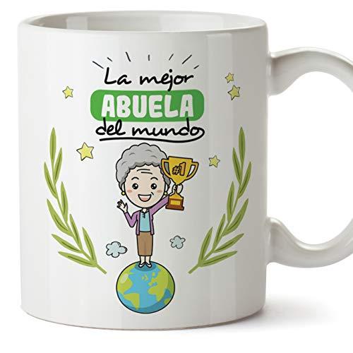 MUGFFINS Taza Abuela - La Mejor Abuela del Mundo - Taza Desayuno/Idea Regalo Original/Día de la Madre para Abuelitas. Cerámica 350 mL