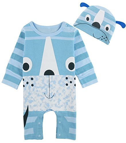 Mombebe Baby Jungen Halloween Kostüm Säugling Frosch Strampler Overall mit Hut (6-9 Monate, Hund)