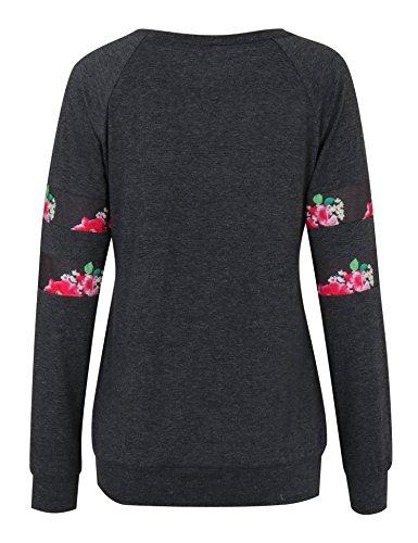 Vessos Femme Top à Manche Longue Tunique T-shirt Avec Boutons Noir#1