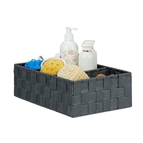 Relaxdays Panier de rangement petite corbeille déco étagère 3 compartiments salle de bain HxlxP: 10,5x32x21,5 cm, gris