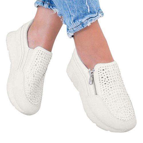 Berimaterry Mujer Zapatillas de Deporte Cuña Zapatos para Caminar Aptitud Plataforma Sneakers con Cordones...