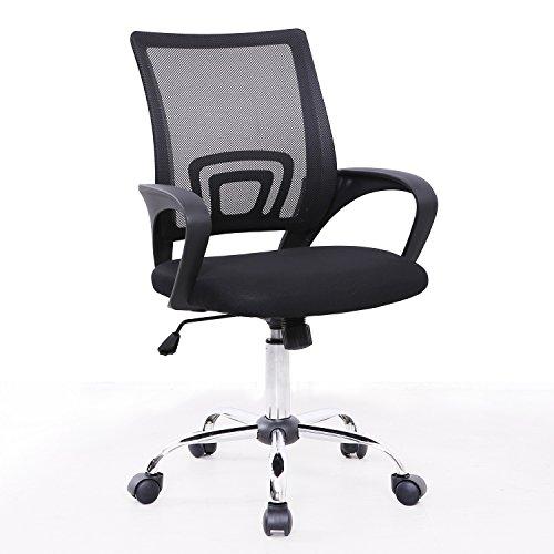 SVITA Kinder Schreibtischstuhl Bürostuhl Netzbezug Drehstuhl Stuhl Schreibtisch Schwarz (Schwarz)
