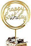 A Mano Torta di Buon Compleanno Cappello a Cilindro Tondo Oro Acrilico Scintillio Fai da Te Glitter Primo Compleanno Cupcake Cake Topper Smash Candela del Partito Alternativa