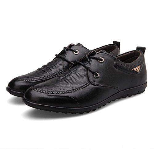 GRRONG Herren Lederschuhe Echtes Leder Geschäft Freizeit Schwarz Braun Black