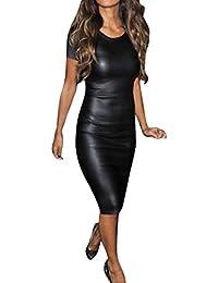 Cinnamou Vestido Sensación de Cuero para Mujer, Cinnamou Vestido de Fiesta para Bodas Cortos Bodycon de Moda,…
