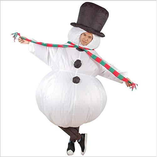 Motto.H Schneemann Aufblasbarer Kostümanzug, Erwachsener aufblasbarer Schneemann-Abendkleid-Kostüm Aufblasbares Weihnachtskleid-Kostüm (Tv Show Motto Kostüm)