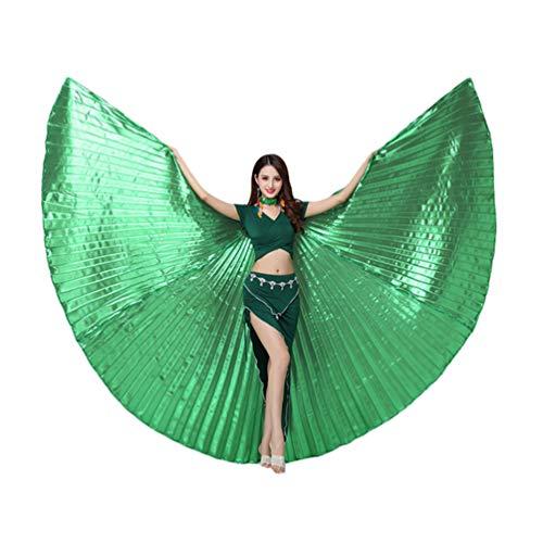 Tookang Dance Fairy Bauchtänzerin Isis Flügel Keine Sticks Tanzkostüm-Zubehör Bauch Tanz Darstellende Künste Halloween Fasching 1# Grün (ohne Stock)