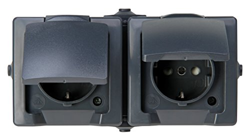 Kopp 137015003 Nautic 2-fach Schutzkontakt-Steckdose, waagerechte Montage, mit Klappdeckel und erhöhtem Berührungsschutz, Aufputz, für Feuchtraum, 250 V, 16 A, IP 44, anthrazit