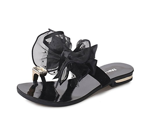 YOUJIA Flip Sandales Rhinestones Bowknot Embellishment Sandale D Été Femme Noir