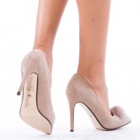 Ideal Shoes - Escarpins à bout pointus effet daim avec pompon Kadia Taupe