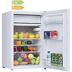 COSTWAY Frigo Combiné Congélateur Réfrigérateur Mini-Réfrigérateur,Capacité123L,230v,50HZ Certification CEL (Blanc)
