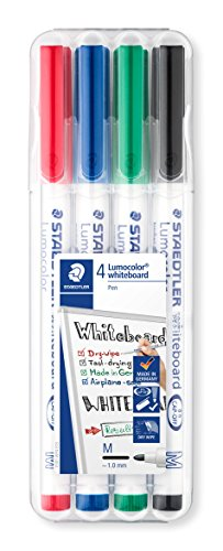 Staedtler Lumocolor Whiteboard-Marker, Rundspitze ca. 1 mm Linienbreite, Set mit 4 brillanten Farben, hohe Qualität, trocken und rückstandsfrei abwischbar von Whiteboards
