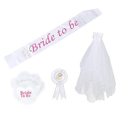 Bride to Be Badge Rosette Sash Garter 2T Veil for Wedding Shower Hen Night Party