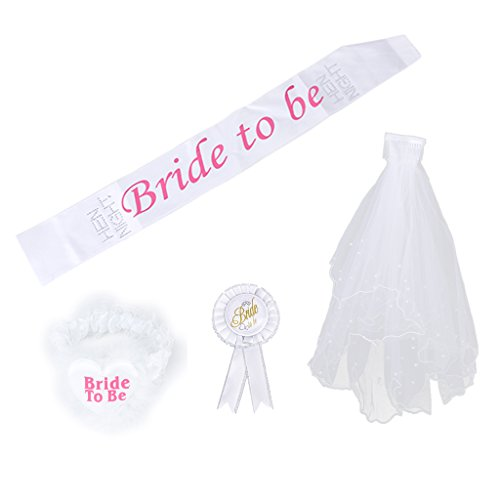 Bride to Be Badge Rosette Sash Garter 2T Veil for Wedding Shower Hen Night Party