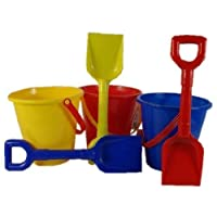 "A1002 3 (all three at this price) 5""/12.5 cm SMALL SHINY BUCKETs AND 9"" SPADEs sandpit and beach play sand castle (all three colours) by TLP"
