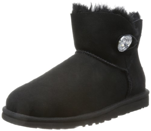 UGG Damen Mini Bailey Button Bling Kurzschaft Stiefel Schwarz (Nero) 40 EU - Bailey Button Black Boot