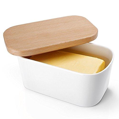 Sweese 3150 Butterdose Porzellan mit Holzdeckel, für 250 g Butter, groß, Weiß