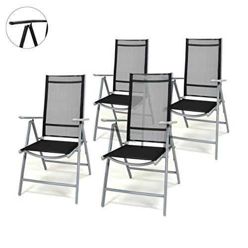 Aluminium Outdoor-möbel (4er Set Klappstuhl schwarz 7-fach-verstellbar Gartenstuhl Aluminium mit Armlehne Hochlehner witterungsbeständig Balkonstuhl leicht stabil Rahmenfarbe wählbar (Silber))