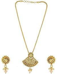 Anuradha Art Golden Finish Designer Wonderful Studded Shimmering Stone Traditional Pendant Ser Necklace For Women...