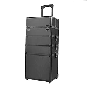 Paneltech 4 in 1 Large Makeup Beauty Rolling Case Organizer Cosmetics Hairdressing Lockable Storage Box Bag Professional Portable Travel Trolley (All Black)
