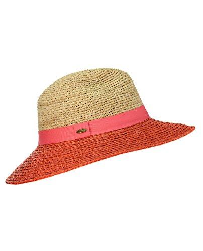 Chapeau Fedora d'été de style Panama en paille raphia tressée 2 tons, accentué d'une bande de couleur. Produit offert par NYFASHION101. Corail