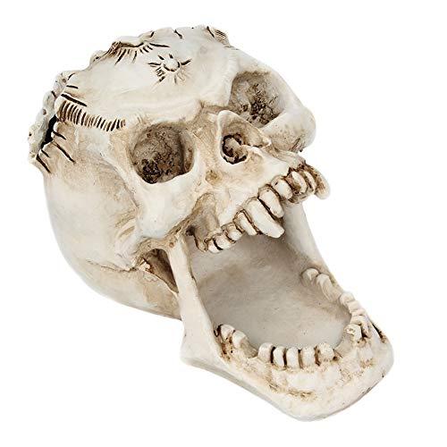 halter Figur Einzigartige Halloween Horror Kopf Skeleton Stifthalter Dekoration Schreibwaren Aufbewahrungsbox Als Halloween Makaber Friedhof Spooky Dekorative Statue ()