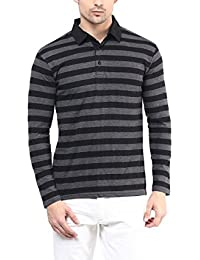 Hypernation Black And Grey Stripe Cotton Polo T-shirt