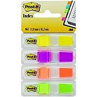 Post-it - Marcapáginas adhesivos (4 colores x 24 unidades, con dispensador transparente)