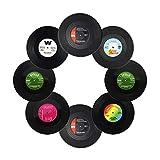 txian Lot de 6tapis de tasse rétro en vinyle LP Record style verre antidérapant Tapis Café Boisson isolé