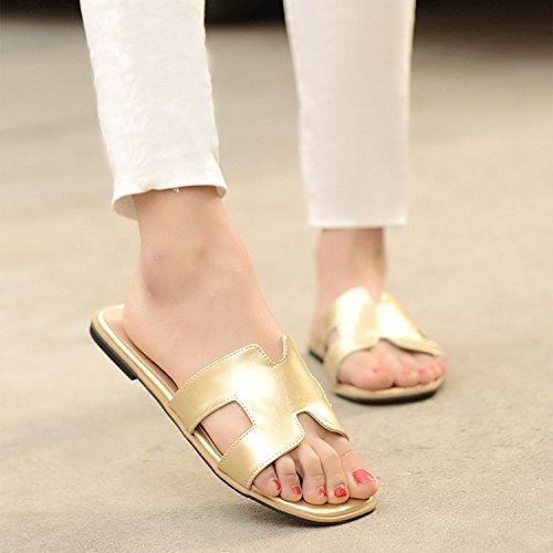 ZYUSHIZ Frau Open Toe flache Unterseite coole Hausschuhe Freizeit Sandalen Hausschuhe Gold