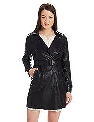 US POLO Womens Cotton Trench Coat (UWTC0007_Black_Large)