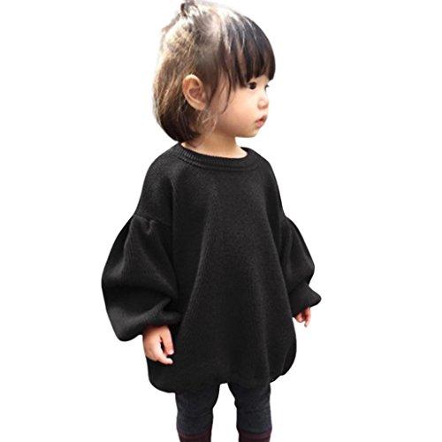 Babykleidung Ursing Kleinkind Baby Kinder Mädchen Einfarbig Laternenhülse Hemd Tops Outfits Kleider Basic Langarm T-Shirt Sweatshirt zur Seite Fahren Langarmshirt Oberteile (Edles Schwarz, 100CM)
