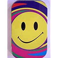 new slim 1oz hinged smiley face tobacco baccy tin with rolling papers
