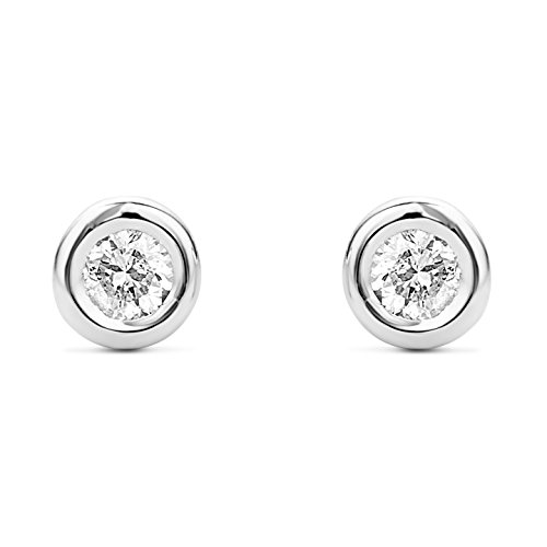 Miore - Boucles d'Oreilles Femme - Or 375/1000 (9 carats) 0.46 gr - Diamant 0.1 cts Or blanc