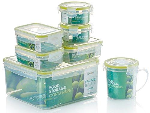 Zoë&Mii Premium 14 Teilige Smart Lock, Deckel, Frischhaltedosen Set, Dosen, Vorratsdosen, Plastikboxen, Klick, Luftdicht Deckel,Boxen, Dosen,Set, Food Container, Suppenbecher,