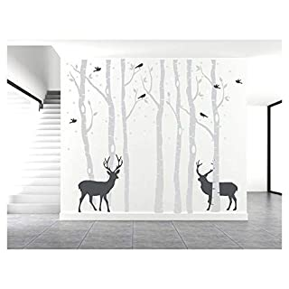 BDECOLL Set of 7 Birch Tree Wall Decals, Deer Wall Stickers, Birds Home Decor, Living Room Wall Stickers, Nursery Wall Arts for babyroom, (Grey)