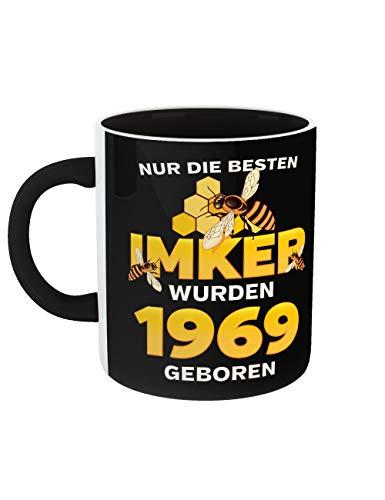 Geburtstag Kaffeetasse mit Schwarzem Griff Rundum Bedruckt Die Besten Imker Jahrgang 1969