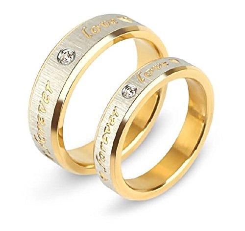 Daesar Damen Herren Ringe Edelstahl Paar Ringe Freundschaftsringe Bandringe Graviert Forever Love Zirkonia Breite 6/4 MM Hochzeitsringe Verlobung Ring Gold Damen Gr.62 (19.7) & Herren Gr.57 (18.1)
