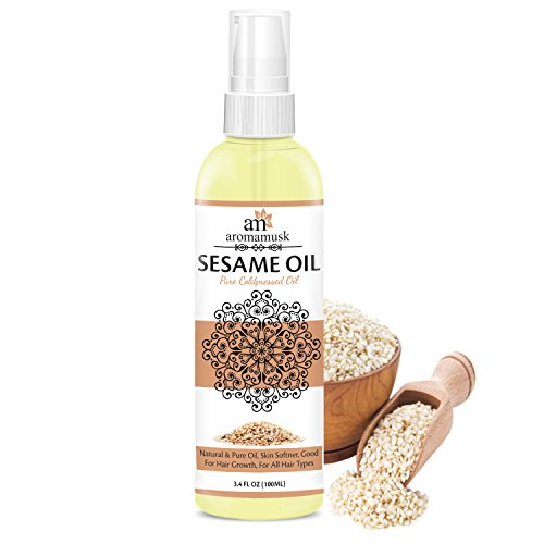 AromaMusk USDA Organic 100% Pure Cold Pressed Sesame Oil For Hair And Skin – HEXANE FREE, 100ml