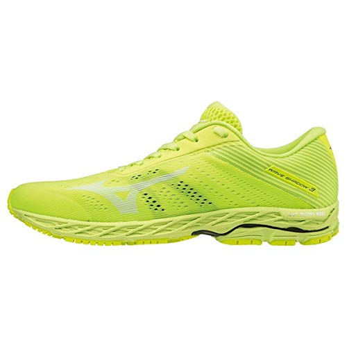 Mizuno Herren Wave Shadow 3 Laufschuhe, Gelb White/SafetyYellow 2, 42.5 EU