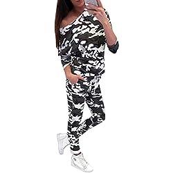 Minetom Mujer Dos Piezas Chándal Conjunto de Ropa Deportivos Entrenamiento Fitness Yoga Camuflaje Manga Larga Camiseta Top y Bolsillos Pantalones Leggings Ejército Verde ES 38