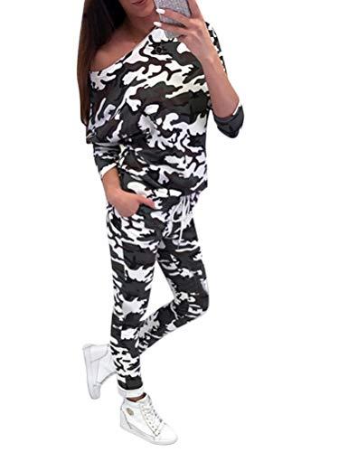 Minetom Damen 2 Stücke Set Outfit Sport Yoga Fitness Jogginganzug Jumpsuit Zweiteiler Anzug Langarm Tarnung Hemd Top + Hose mit Taschen Kordelzug Armeegrün DE 42 -